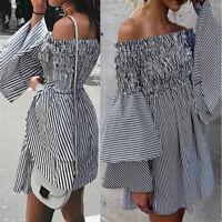 Women Summer Casual Off Shoulder Evening Party Beach Dress Short Mini Dress