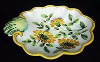 Italian Pottery Trinket Candy Dish Shell Scalloped Daisy Flowers Decor