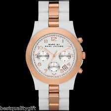 NEW MARC JACOBS DAVE WHITE CERAMIC,ROSE GOLD GLITZ CHRONOGRAPH WATCH-MBM9508