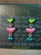 """JJ"" Jonette Jewelry Silver Pewter TRIPLE HEART 'He Loves Me' Earrings"