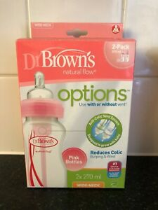 pink Dr Brown's bottles 2 pack new in box anti colic