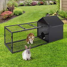 Large Hutch Run Rabbbit Guinea Pig Covered Area Metal Frame Wide Entrance Home