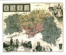 Réédition de gravure ancienne carte région département français l'Orne
