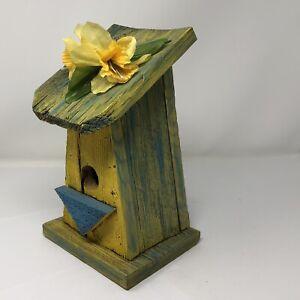 "*Vtg Wooden Birdhouse Painted Rustic Boho Shabby Chic Garden Blue Yellow 10.5"""