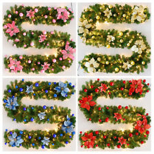 2.7m/9ft Artificial Christmas Fireplace Garland Wreath Fake Pine-Tree-Ornament