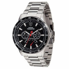 DETOMASO Terrestre Mens Watch Multifunction Stainless Steel Black Day & Date New