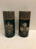 VINTAGE PAIR OF POTTERY VASES WITH ENAMEL DECORATION SIGNED B.E.K