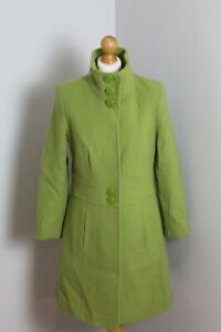 Vintage Laura Ashley Wool Blend Green Single Breasted Overcoat Coat Size 12