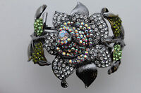 Women Silver Metal Wide Cuff Bracelet Fashion Jewelry Rose Flower Wedding Bridal