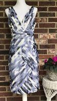 ANN TAYLOR **SIZE 8** Blue, Black & White Sleeveless V-Neck Dress