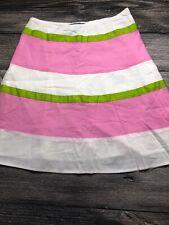 Moda International Skirt White pink striped cotton green ribbon cotton preppy 10