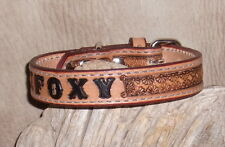 "1"" Custom Leather Dog Collar Personalized, Your Dogs Name,  Floral Border. G&E"