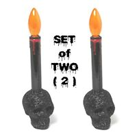 2-Gothic Black Glitter SKULL BASE LED CANDLES LAMPS Prop Decoration-FREE Battery