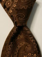 SARTORI Men's 100% Silk Necktie ITALY Luxury Designer PAISLEY Brown EUC Rare