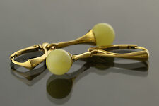 White Round Beads Genuine BALTIC AMBER Silver Gold Plated Earrings 3.2g e61108-1