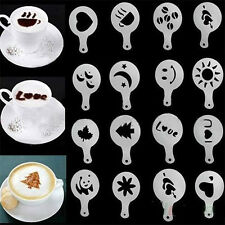 16 Coffee Machine Barista Stencils Template Strew Flowers Pad Duster Spray GD