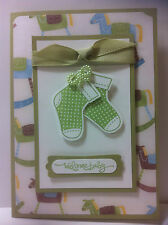 Handmade Baby Boy card - baby socks in green.