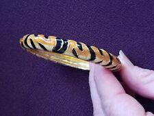 KJL Kenneth Jay Lane 2006 Tiger Enamel Print Hinged Oval Bangle Bracelet
