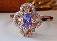 NEW Tanzanite & 1/6ct Diamond Halo Flower Ring Band- 10K Rose Gold- Size 7