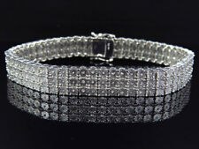 Mens Ladies White Gold Finish Round Cut Real 3 Row 11 MM Diamond Bracelet 9 Inch