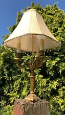 Beautiful Vintage Brass Candlestick Table Light Lamp 3 Bulbs &  Lampshade *