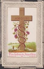 ANCIEN CANIVET IMAGE PIEUSE HOLY CARD SANTINI AMOUR VIVE LA CROIX DE JESUS CHRIS