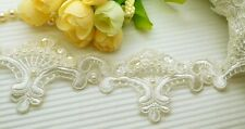3 Yards Beautiful Embroidery Pearl/Sequin Venise Lace Trim ~ Wedding Bridal