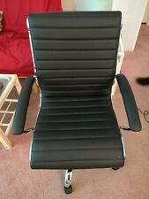 Office Desk Chair, Black Faux Leather, Swivel with Wheels