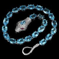 Sterling Silver 925 Genuine Natural Swiss Blue Topaz Snake Design Bracelet 8 In
