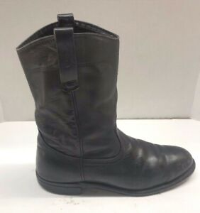 RED WING Black Leather Pull On Roper Cowboy Western Boots Mens Size 8.5 D