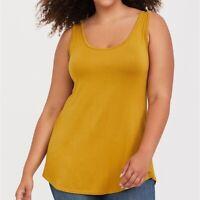 Torrid 1X /3X Top Tank Layering Mustard Yellow Plus Size Super Soft Women's NWT