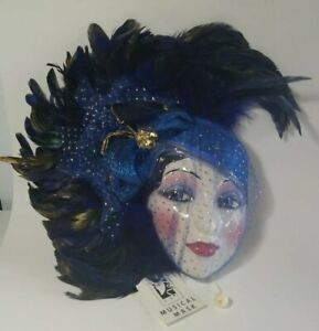 Vintage Rare 1992 Blue & Gold Clay Art Musical Mask Feathers & Tulle