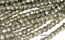 """4MM IRON PYRITE GEMSTONE GRADE AA FACETED ROUND 4MM LOOSE BEADS 16"""""""