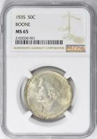 1935 Boone Commemorative Silver Half Dollar - NGC MS-65 - Mint State 65