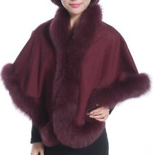 Cashmere Shawl Cape Wrap Scarf with Fox Fur Trim Burgundy New Real