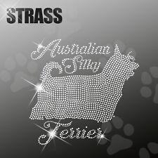 silky terrier australiano CANE APPLICAZIONE foto strass FERRO STIRO hotfix 22cm