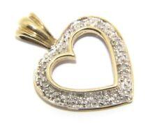 Ladies/women's 9ct/9carat Yellow Gold Open Heart Diamond Pendant