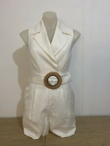 Forever New Cleo Rattan Belted Playsuit Size 6