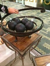 "XXL 19"" CLEAR GLASS FARMHOUSE DECOR BOWL AGED FORGED METAL STAND UTTERMOST"