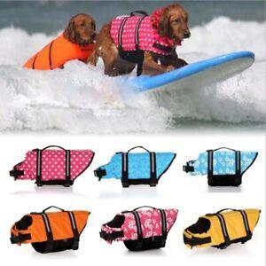 XS-XL Dog Beach PuppySwim Life Jacket Vest Reflective Stripes Pet Supply