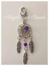 Keychain. Dreamcatcher. Silver charm. Purple. Feather. Heart Clasp. Gift.