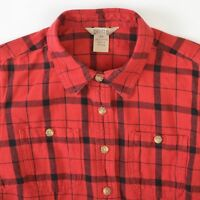 Duluth Trading Free Swingin Flannel Shirt Red Plaid Cotton Womens XS