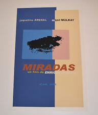 Cuban original SILKSCREEN movie poster.Handmade art.Miradas.Looks.Detective.