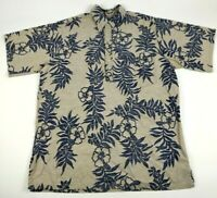 Go Barefoot Mens L Hawaiian Shirt Beige Blue Reverse Print Floral 100% Cotton