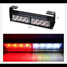 1Pc Red/White 8LED Strobe Light Bar Grille Dash Flash Emergency Warning Lamp 12V