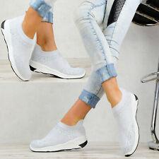 Neu Plateau Sneaker Glitzer Damen Schuhe Sport Turnschuhe weiß M87