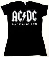 AC/DC T-shirt Distressed Back In Black Metal Rock JUNIORS Tee S,M.L,XL New