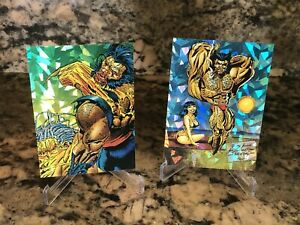 1992 MARVEL COMIC CARDS WOLVERINE 2 CARD LOT PRISM CHASE INSERTS RARE