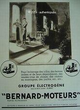 PUBLICITE BERNARD MOTEURS GROUPE ELECTROGENE BERGER ALLEMAND DE 1936 FRENCH AD