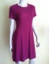NWT $109 CREMIEUX Dress Knitted Cable Short Sleeve Round Neck Fuchsia M